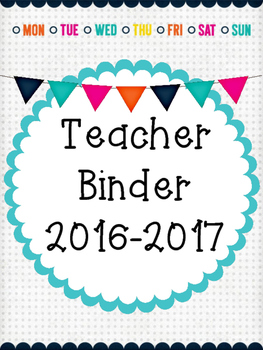 Freebies: Teacher & Substitute Binder Covers and Monthly Calendars 2016-2017