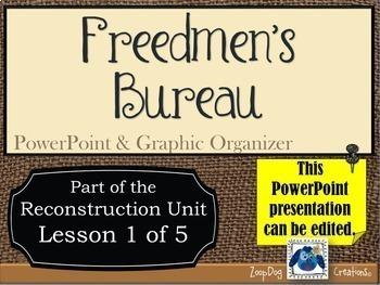Freedmen's Bureau PowerPoint Presentation and Graphic Organizers