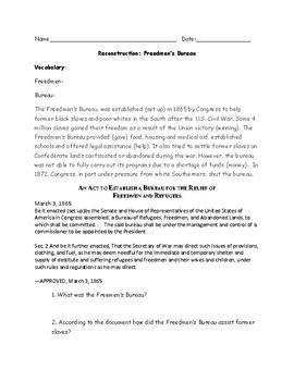 Freedmen's Bureau Worksheet with Answer Key
