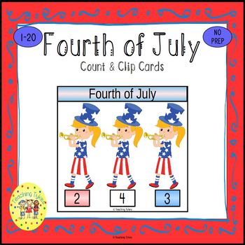 July 4th Count and Clip Holiday Task Cards