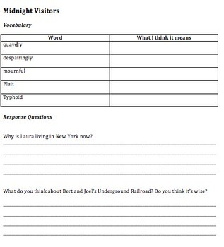 Freedom Crossing Comprehension Questions and Vocabulary Guide