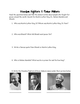 Freedom Fighters & Peace Makers Research Questions
