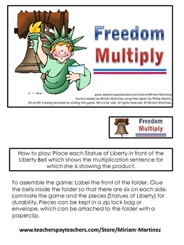 Freedom Multiply. Multiplication File Folder Game.