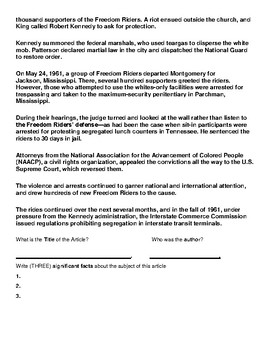 Freedom Riders Article and Summary Assignment