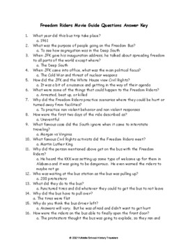 Freedom Riders Movie Guide Questions & Quiz for PBS documentary (Freedom Rides)