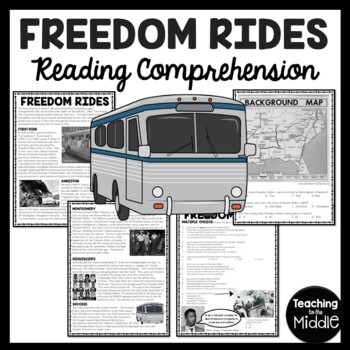Freedom Rides Civil Rights Movement Map and Article with Q