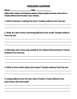 Freedom Summer: 3rd Grade Common Core Worksheets