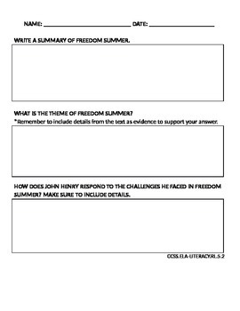 Freedom Summer: 5th Grade Common Core Worksheets