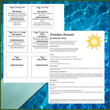 Freedom Summer Interactive Read Aloud Lesson and Extensions
