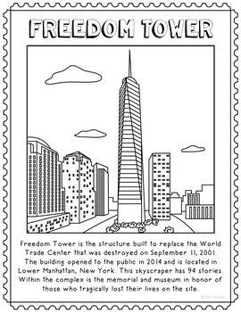 Freedom Tower Informational Text Coloring Page Activity or Poster