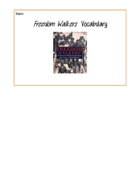 Freedom Walkers Vocabulary Book