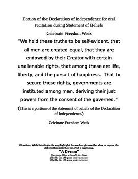 Freedom Week Activities