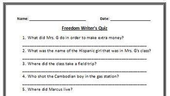 Freedom Writer's Movie Quiz