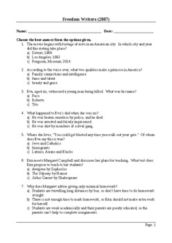 Freedom Writers - 50 Question Multiple Choice Quiz / Assessment
