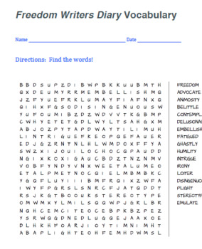 Freedom Writers Diary Vocabulary (Word Search)