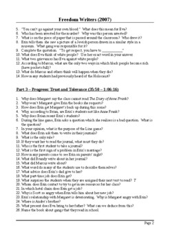 Freedom Writers Movie - Detailed Viewing Questions with Answers