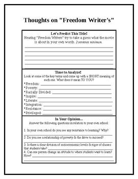 "Freedom Writers Movie ""Think Sheet"""