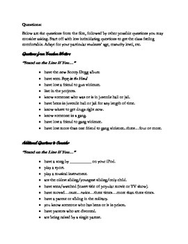 """Freedom Writers: """"The Line"""" Activity"""