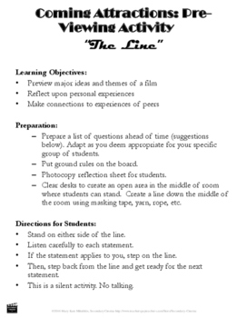 "FREE Freedom Writers: ""The Line"" Activity--Promote Unity & Find Common Ground"
