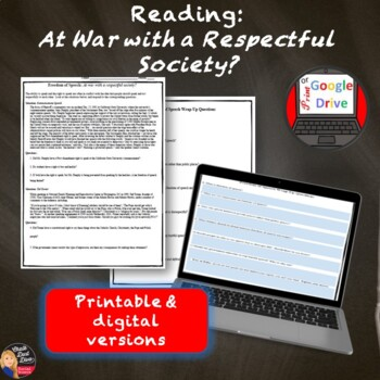 Freedom of Speech Lecture and Reading Activity (Bill of Rights)