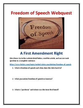 Freedom of Speech Webquest With Answer Key!