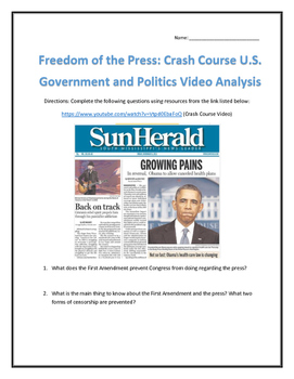 Freedom of the Press: Crash Course U.S. Government and Politics Video Analysis