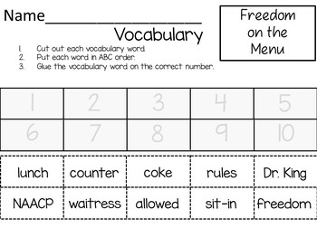 Freedom on the Menu ~ 34 Common Core Activities
