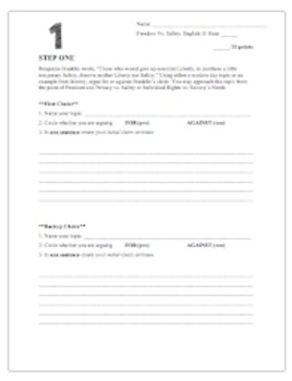 Freedom vs Safety Essay - Writing Process Steps - Common Core Argumentation