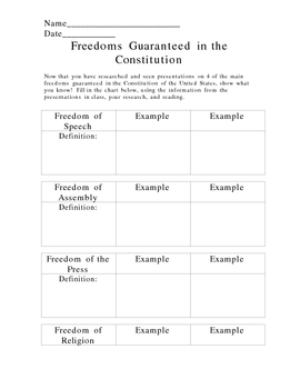 Freedoms Provided by the US Constitution