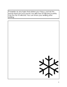 Freewriting Pages for January Snowflake Theme
