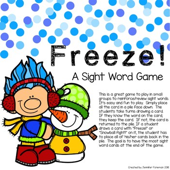 Freeze! A Sight Word Game