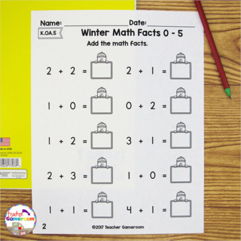 Freezing Fast Facts Math Worksheets - Adding  & Subtracting K.OA.5