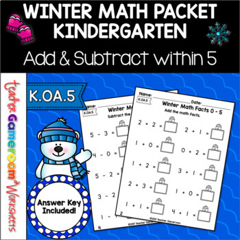 Freezing Fast Facts Math Worksheets - Adding  & Subtractin