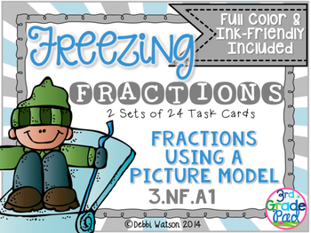 Fraction Task Card: Using a Picture Model  Color/Ink-Friendly Version
