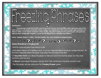 Freezing Phrases {A Reading Fluency Game}