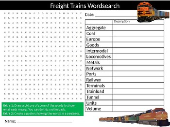 Freight Trains Wordsearch Puzzle Sheet Keywords Rail Transport