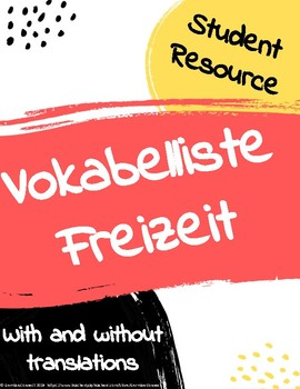 Freizeit free time vocabulary list (with and without translations)