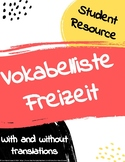 Freizeit free time vocabulary list (with and without trans