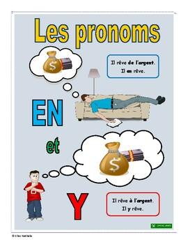 Pronoms français en + y