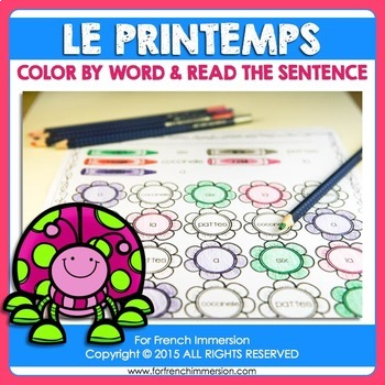 French Spring   Printemps: coloring by word in French