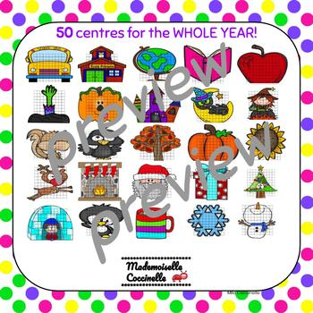FRENCH Math Centres - 100's Chart - Puzzles and Worksheets FOR THE YEAR!