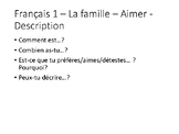 French 1 Ask Ask Switch cards set  la famille - aimer - description