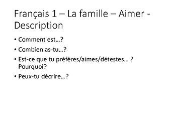 French 1 Ask Ask Switch cards set  la famille - aimer - description