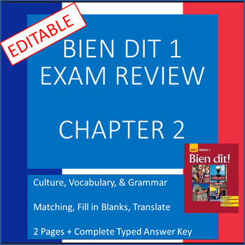 French 1 Bien Dit 1 Chapter 2 Exam Review and KEY