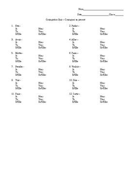 French 1 Conjugation Quiz