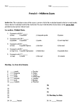 French 1 Final Exam