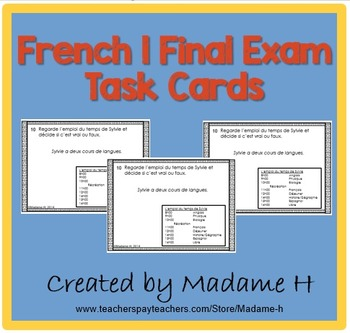 French 1 Final Exam Task Cards