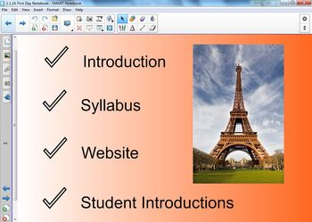 French 1 First Day Smartboard Notebook
