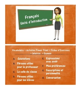 French 1 - Introduction Unit with power points, worksheets
