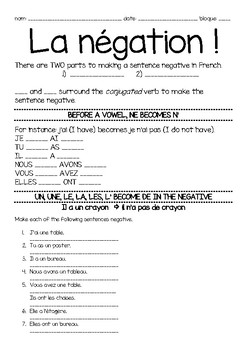 French 1 Negation Notes and Practice